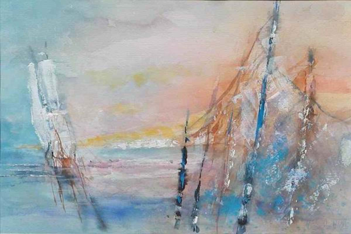 293. Fischernetze 2 | Aquarell | 50 x 40 cm