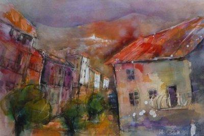 394. Toskana-Dorf am Monte Amiata | Aquarell | 70 x 50 cm