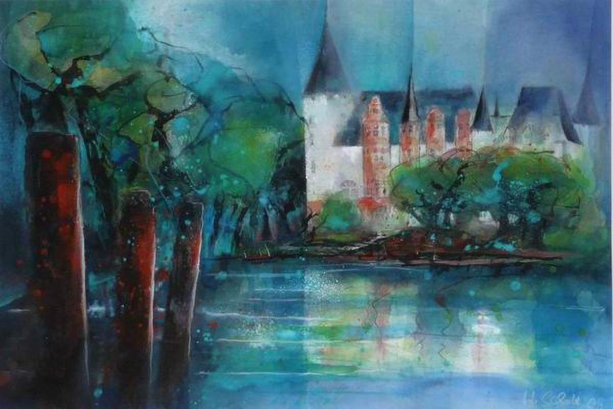 397. Schloss Klink/Müritz | Aquarell | 90 x 70 cm