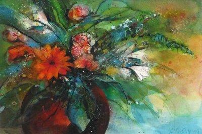 399. Blumenstrauß mit Gerbera | Mischtechnik | 70 x 50 cm