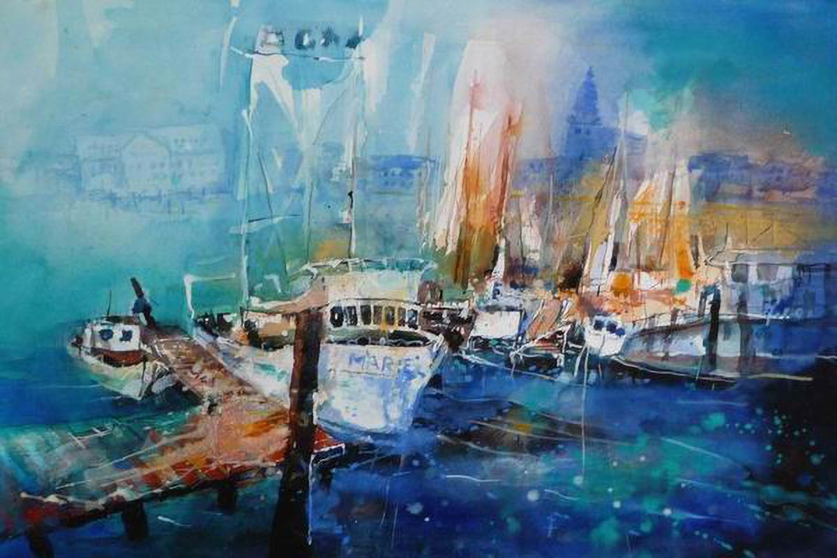 411. Hafen in Waren | Aquarell | 50 x 40 cm