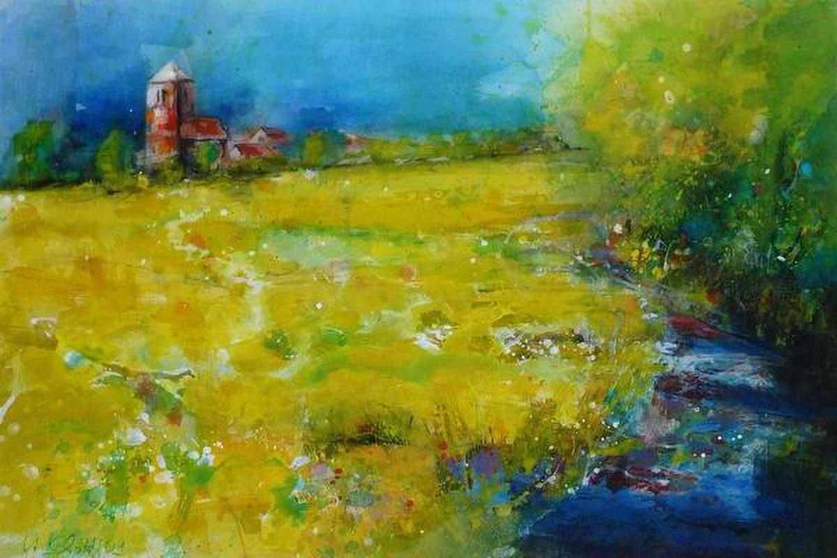 417. Mecklenburger Dorf | Aquarell | 70 x 50 cm