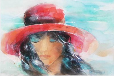 438. Frau mit rotem Hut | Aquarell | 50 x 70 cm