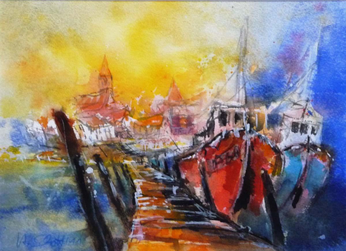 448. Schiffe im Hafen | Aquarell | 50 x 40 cm