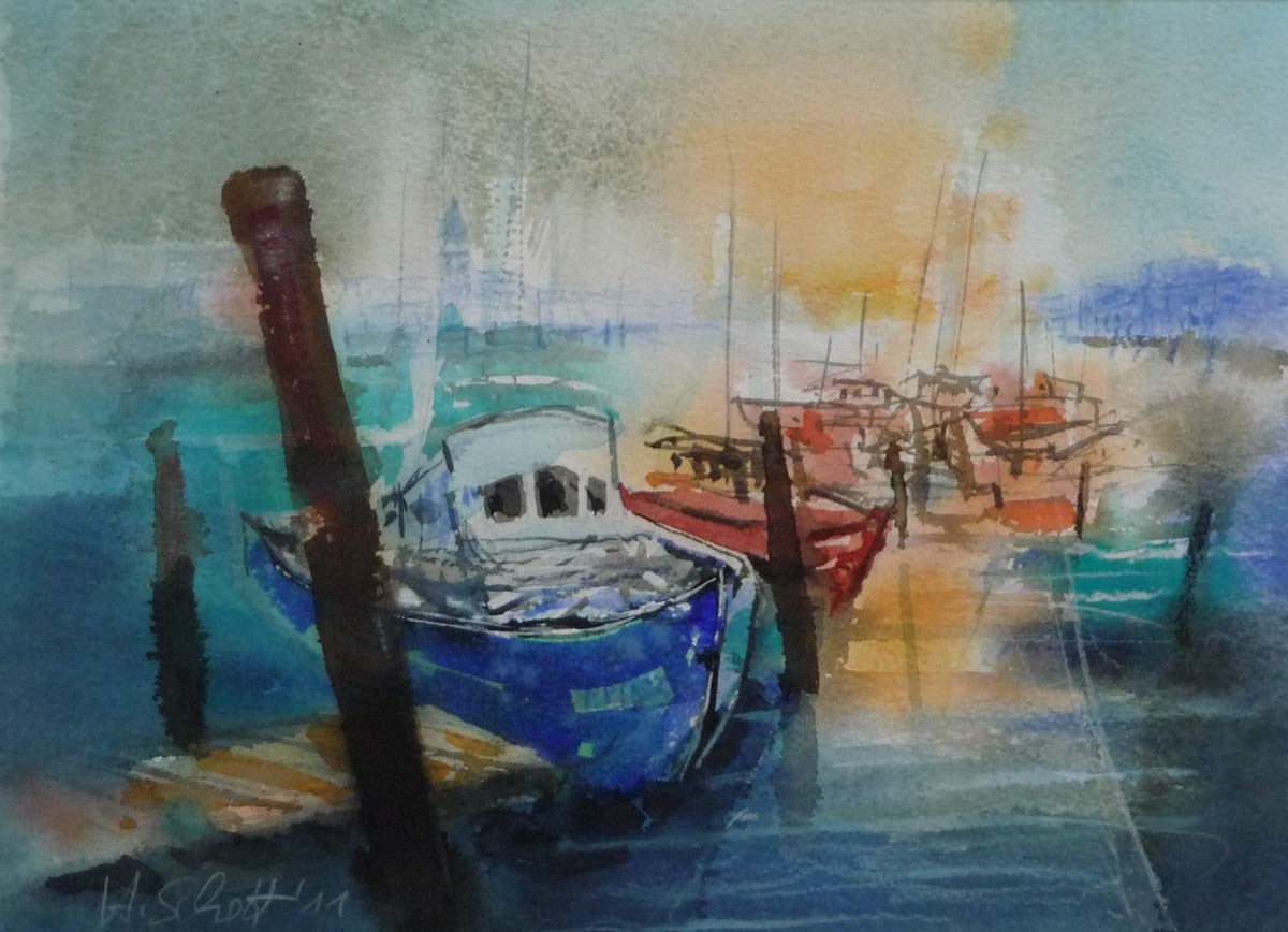 449. Schiffe am Kai | Aquarell | 50 x 40 cm