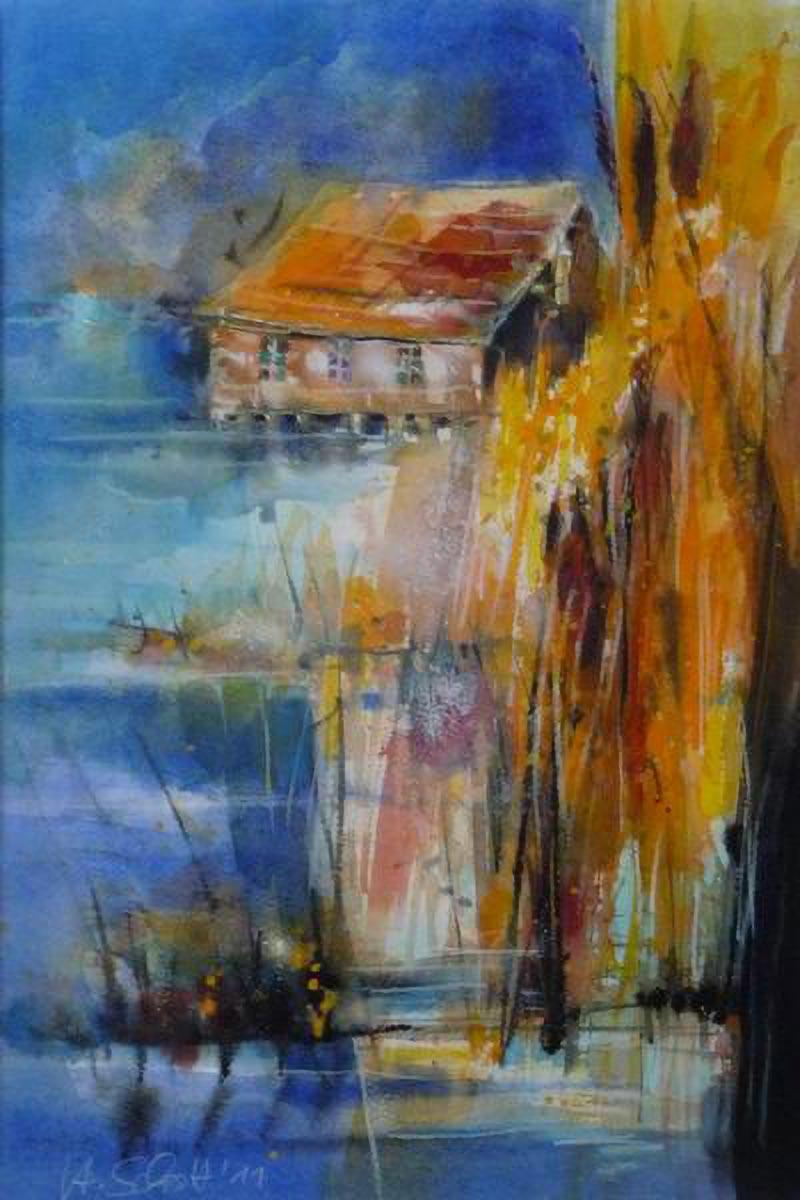 452. Bootshaus | Aquarell | 50 x 70 cm