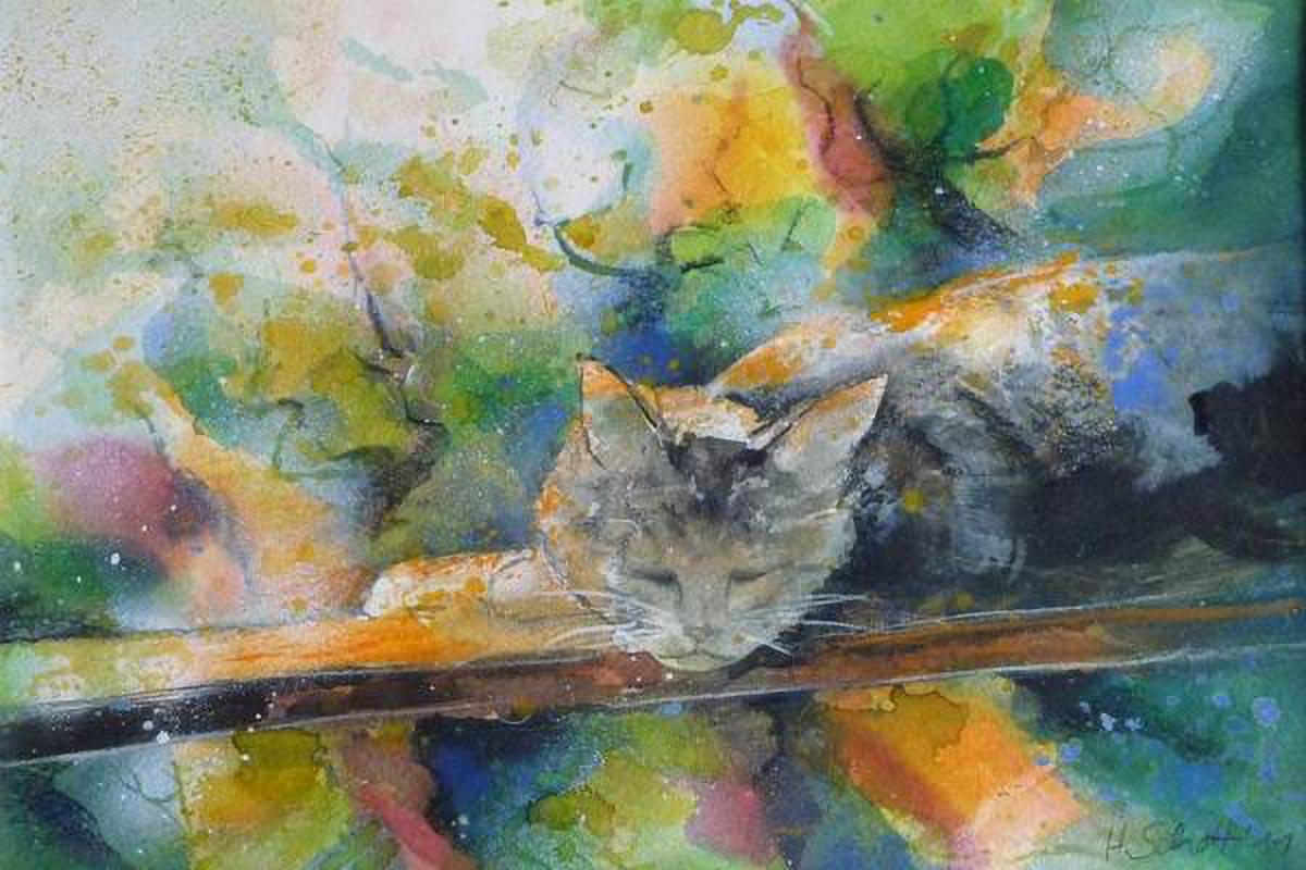 459. Liegende Katze | Aquarell | 70 x 50 cm