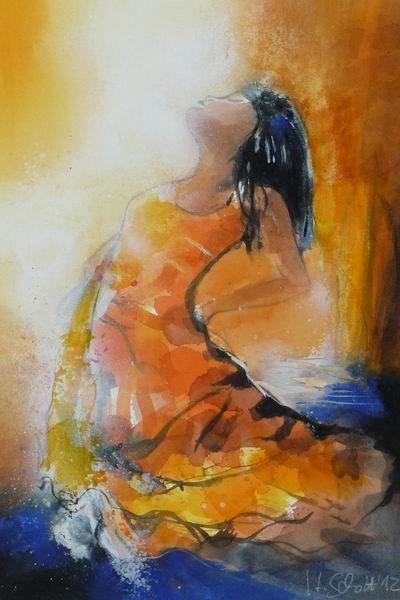 467. Tänzerin in Orange | Aquarell | 50 x 70 cm