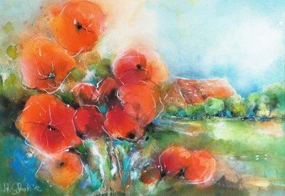 484. Mohnblumen vor der Alten Ziegelei | Aquarell | 70 x 90 cm
