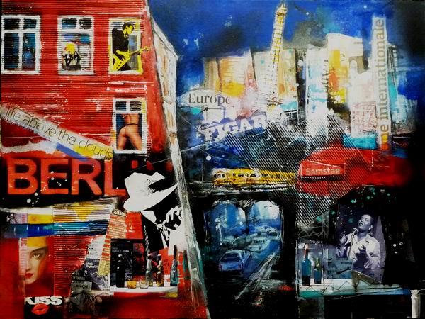 485. Berlin bei Nacht | Collage | 90 x 70 cm