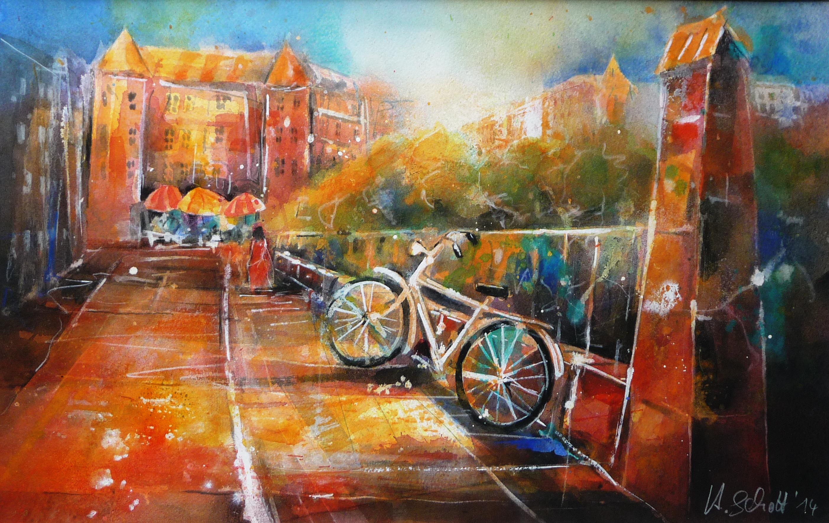 490. Einsames Fahrrad II | Aquarell | 90 x 70 cm
