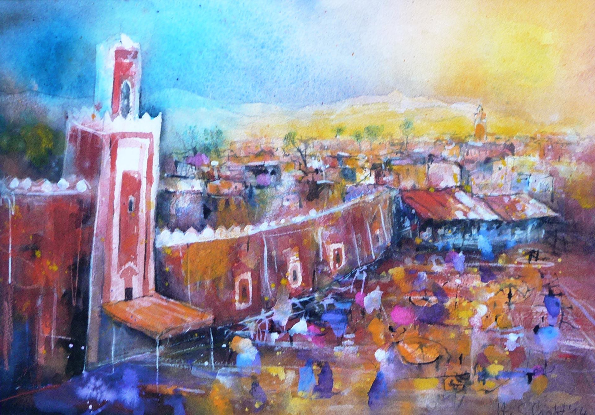 496.-Jema-el-Fnaa | Aquarell | 70 x 50 cm