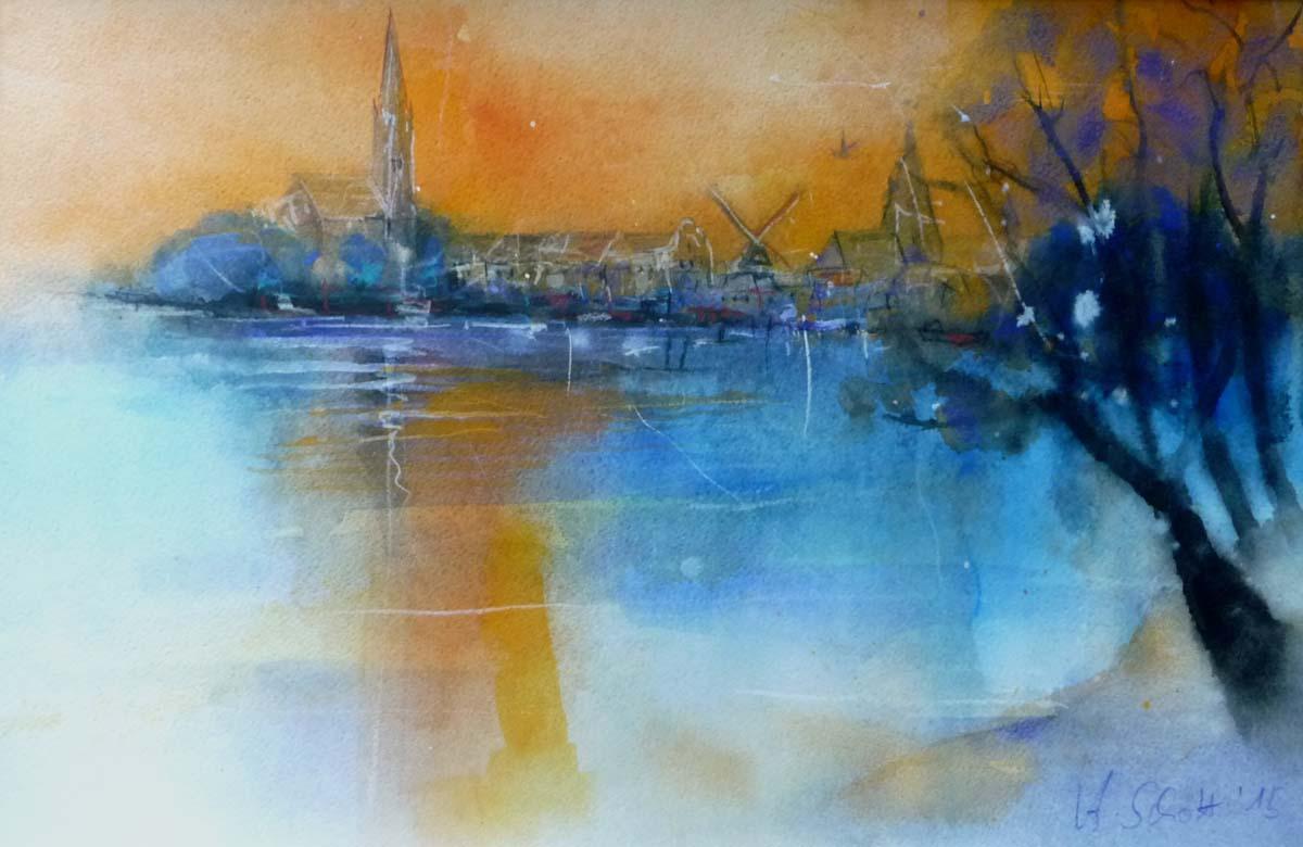 501. Röbel Hafen | Aquarell | 70 x 50 cm