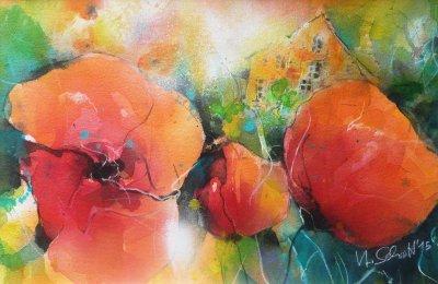 502. Mohnblumen 19 | Aquarell | 70 x 50 cm