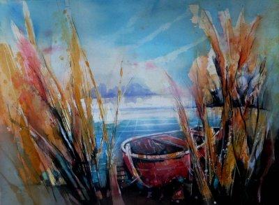 509. Rotes Boot | Aquarell | 90 x 70 cm