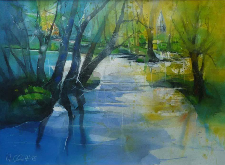 511. Teich bei Ludorf | Aquarell | 90 x 70 cm