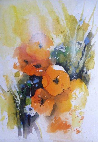 515. Mohnblumen 2 | Aquarell | 40 x 50 cm