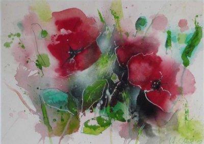 521. Mohnblumen 7 | Aquarell | 50 x 40 cm