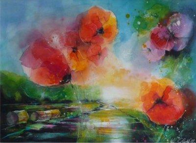 528. Mohnblumen | Aquarell | 90 x 70 cm