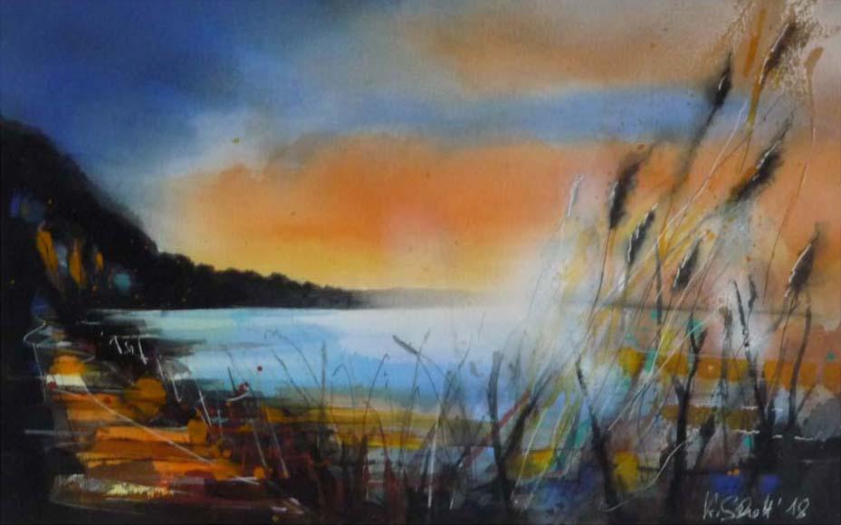 532. Sonnenuntergang am See | Aquarell | 70 x 50 cm