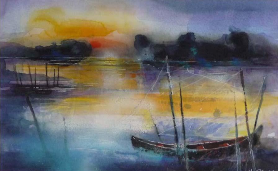 538. Sonnenuntergang am See II | Aquarell | 70 x 50 cm