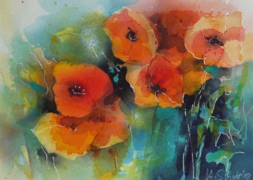 541. Mohnblumen 16 | Aquarell | 50 x 40 cm