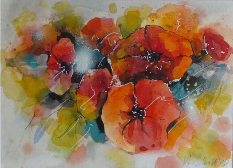 542. Mohnblumen 18 | Aquarell | 40 x 30 cm