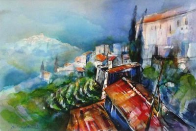 382. Andalusien-Macharaviaya | Aquarell | 70x50 cm