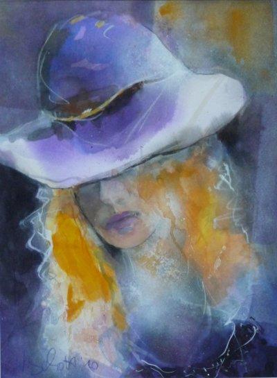 434. Frau mit weißviolettem Hut | Aquarell | 70x50 cm