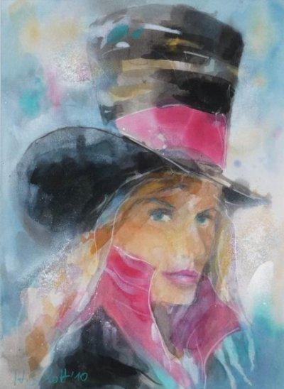 439. Frau mit Zylinder | Aquarell | 50x60 cm