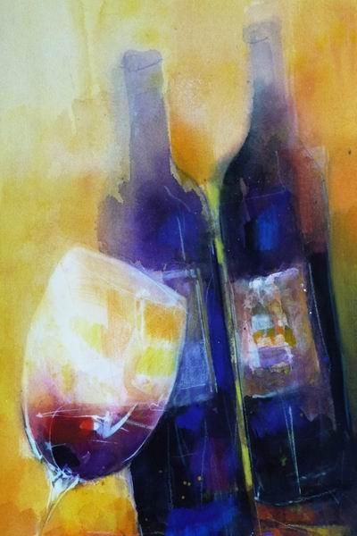 440. Weinstillleben I | Aquarell | 50x70 cm