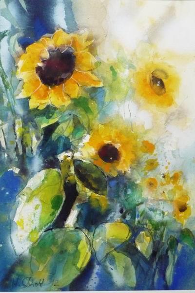 470. Sonnenblumen   Mischtechnik   50x70 cm