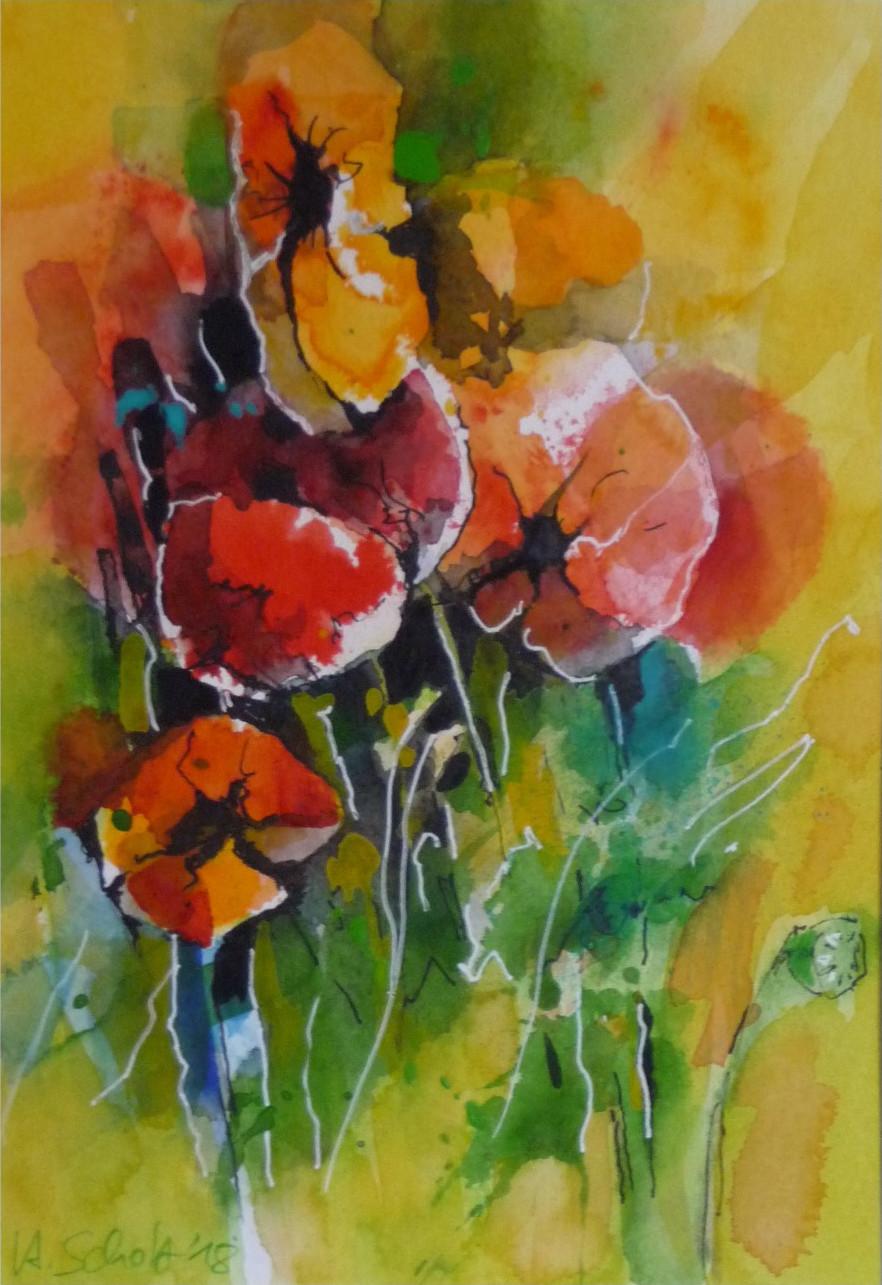 522. Mohnblumen 8 gelbe Stimmung | Aquarell | 30x40 cm