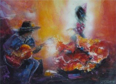 530. Flamenco | Aquarell | 90x70 cm