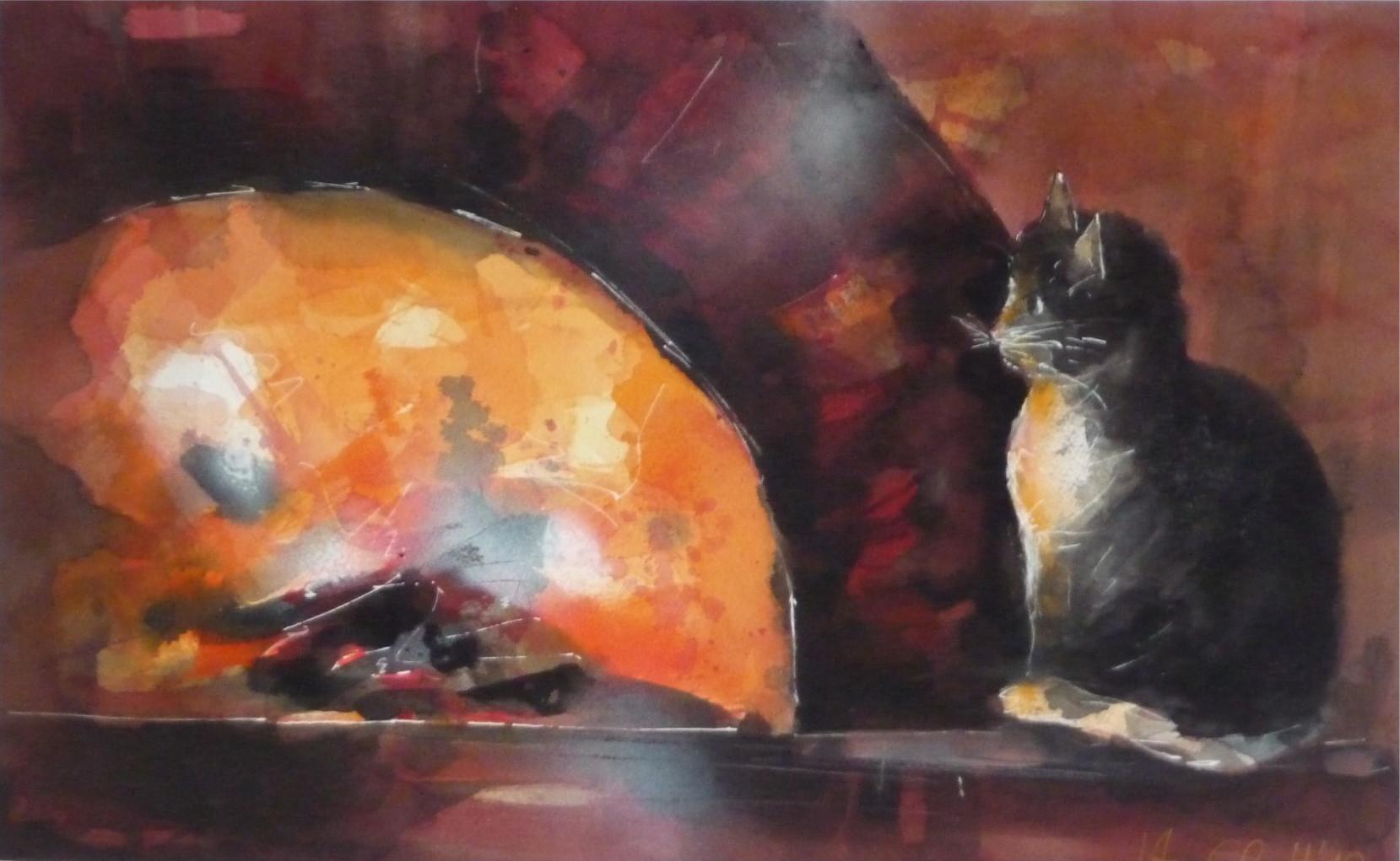 533. Katze am Lehmofen | Aquarell | 70x50 cm
