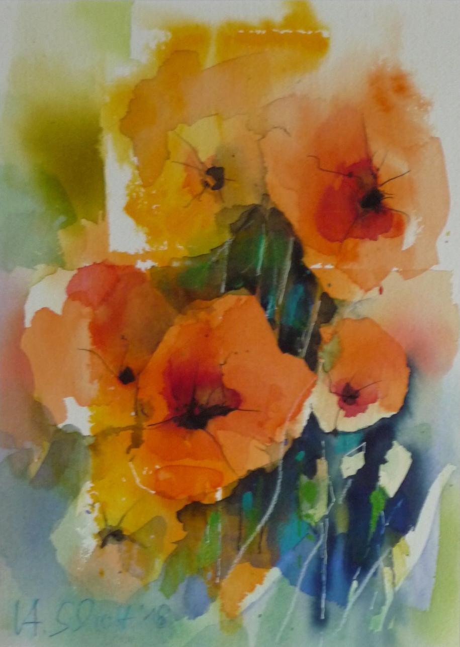 539. Mohnblumen 15 | Aquarell | 40x50 cm
